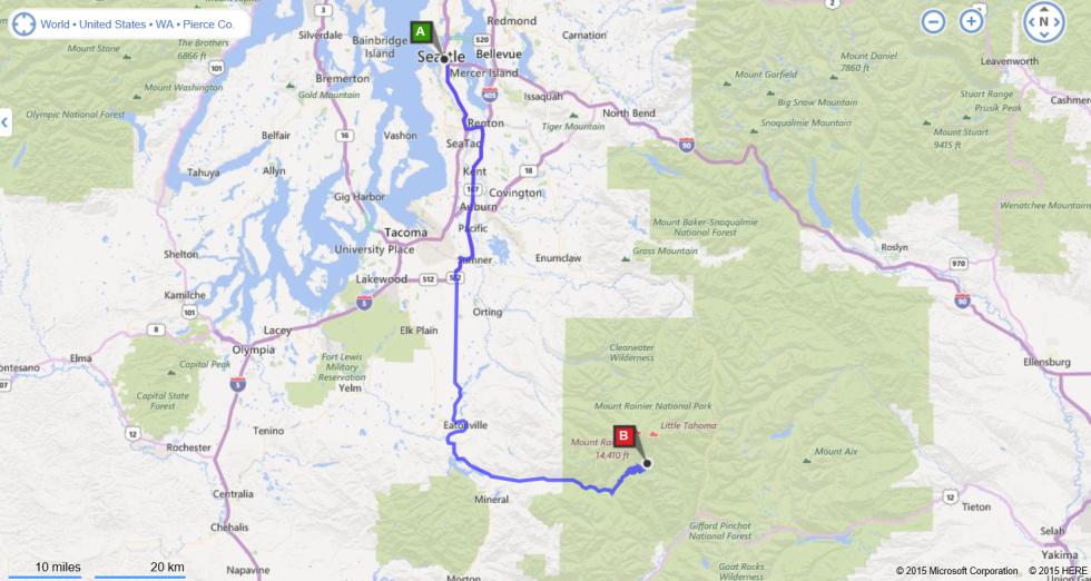 Caminho de Seattle para o Monte Rainier